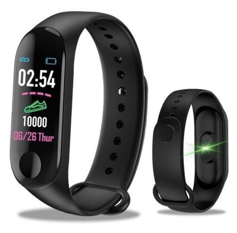 Relógio smartwatch m3 preto bracelete inteligente bluetooth