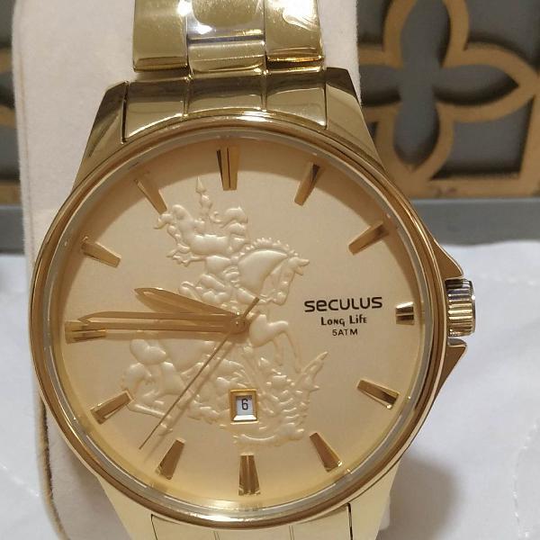 Relógio masculino seculus, novo, dourado, com imagem