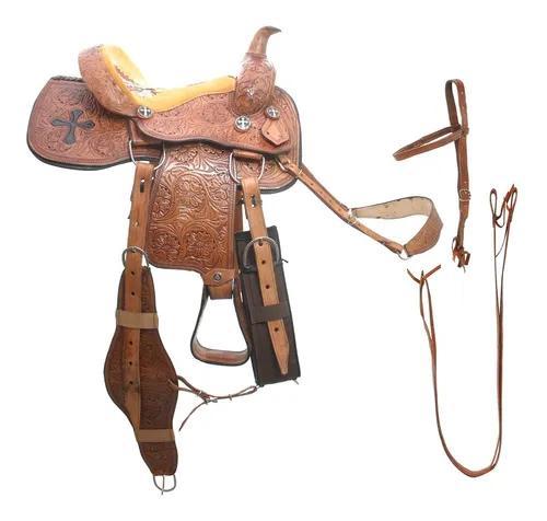 Sela prova de laço couro de búfalo entalhado indian 15 pol