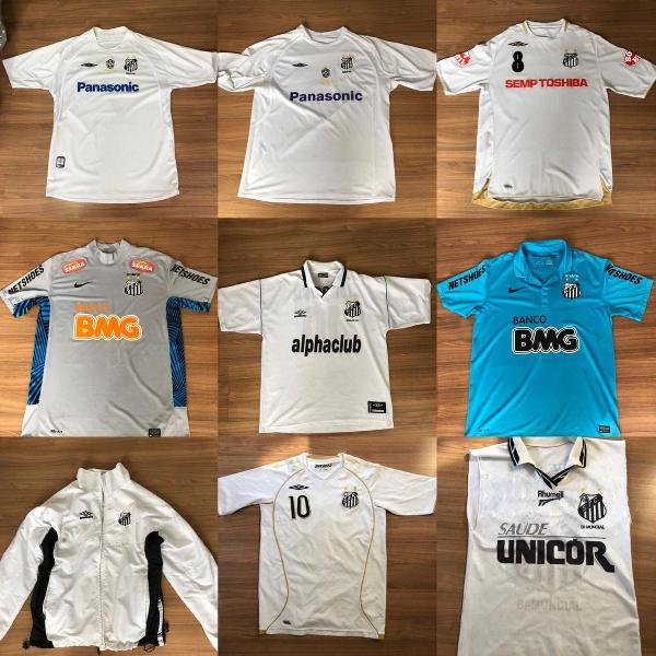 Combo com 11 camisas do santos futebol clube + 1 jaqueta +