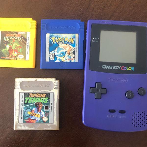 Game boy color com 3 jogos