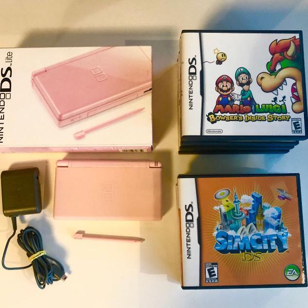Nintendo ds lite rosa acompanha 9 jogos originais