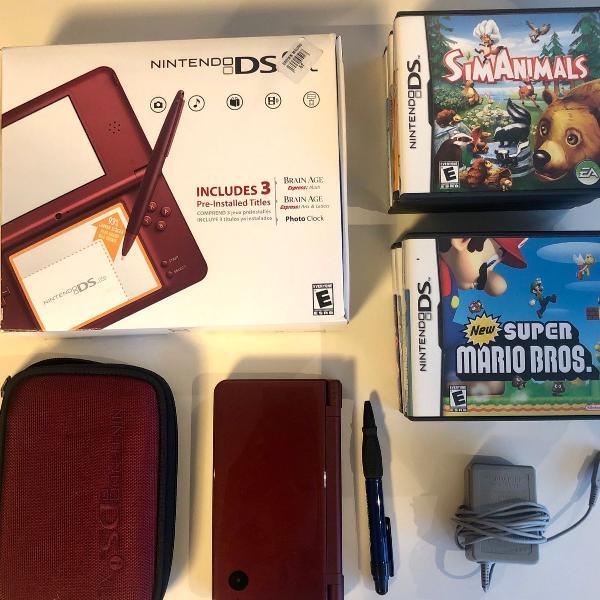 Nintendo dsi xl, acompanha 9 jogos originais e case