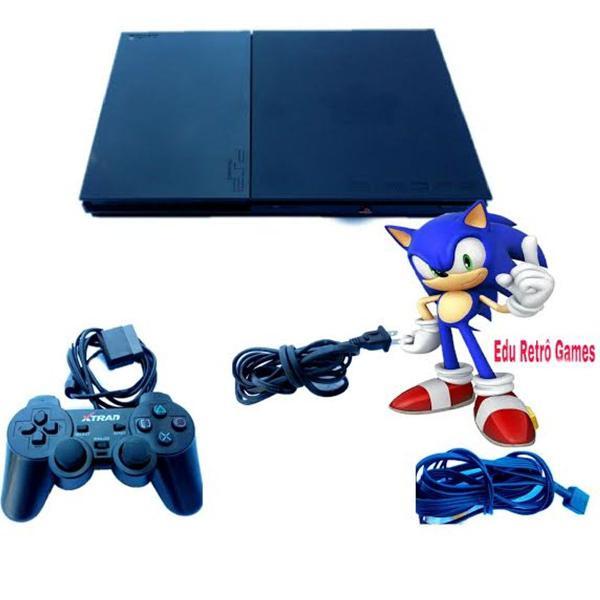 Playstation 2 + 1 controle + 1 memory card + 5 jogos brinde