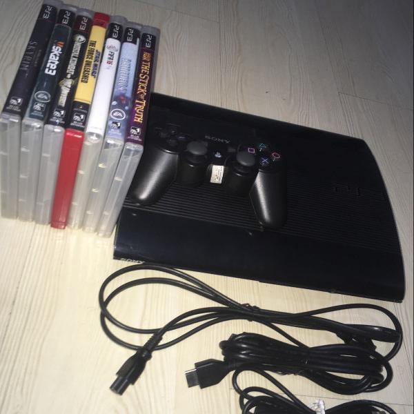 Playstation 3 usado + controle original + 7 jogos originais