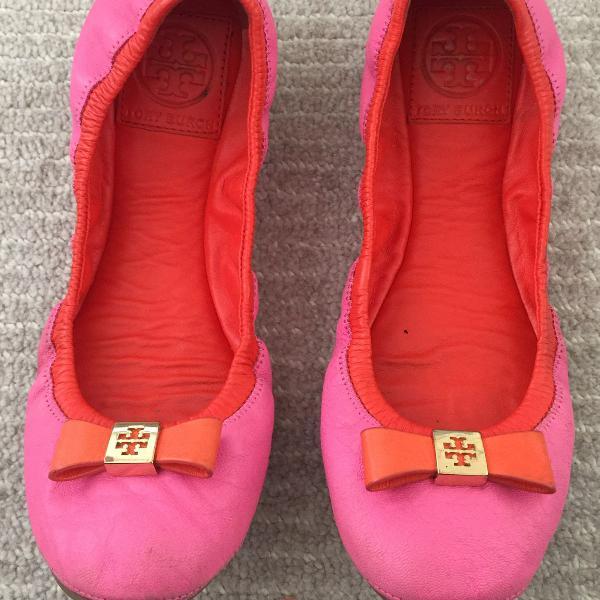 Sapatilha tory burch pink e laranja 35