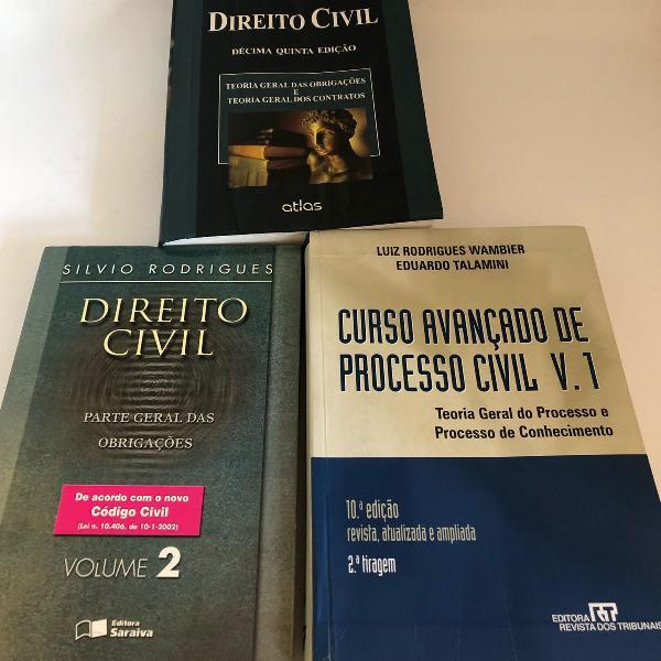 3 livros de direito (civil e processo civil)