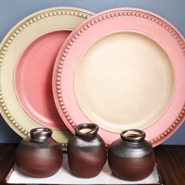 8 sousplat borda rosa matte e creme