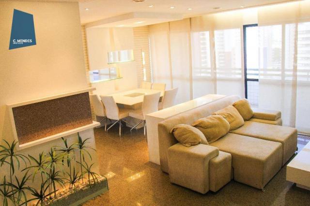 Apartamento mobiliado para locação, 130m² 3 suítes 3