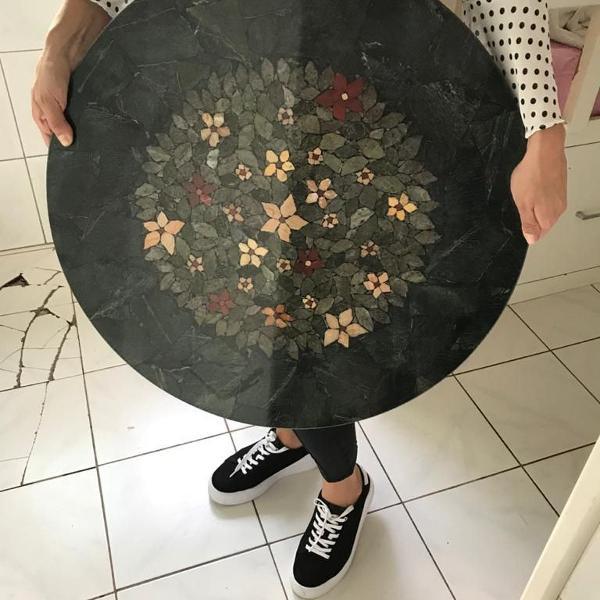 Tampo de mesa mosaico, pedra artesanal