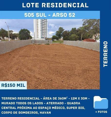 Terreno residencial - 360m², murado, aterrado - 505 sul