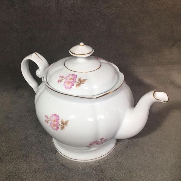 Bule de porcelana vintage floral
