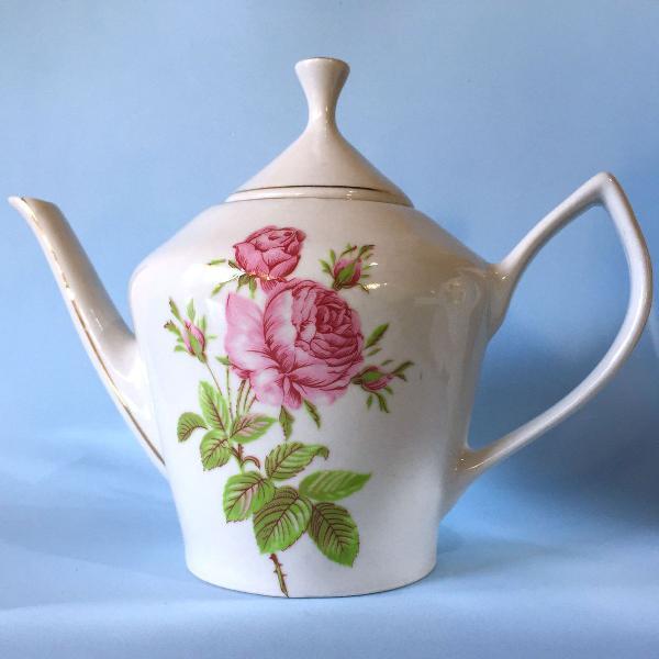 Bule floral em porcelana déc 80