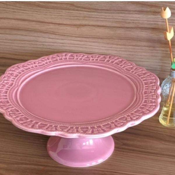 Porta bolo rosa com pé