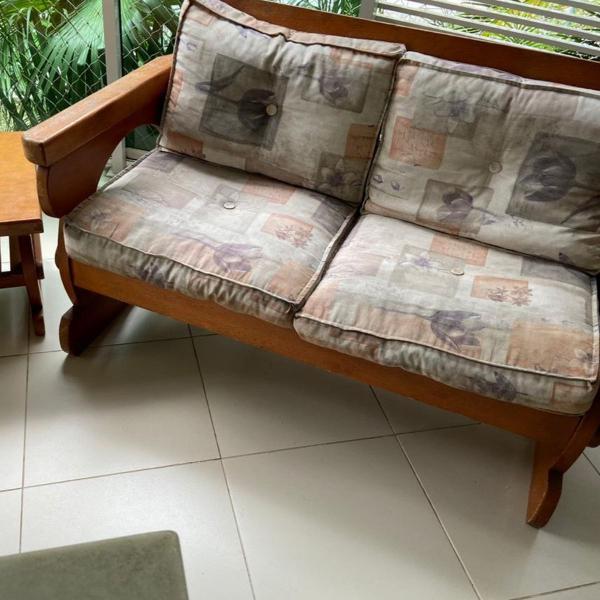 Sofá + duas poltronas em madeira maciça rio decor