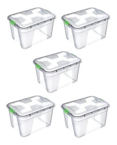 Caixa organizadora multiuso plástica 20 litros kit 5 peças
