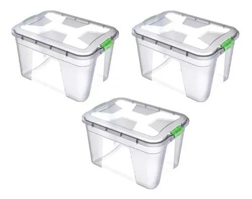 Caixa organizadora plástica 56 litros kit 3 peças ref:0364