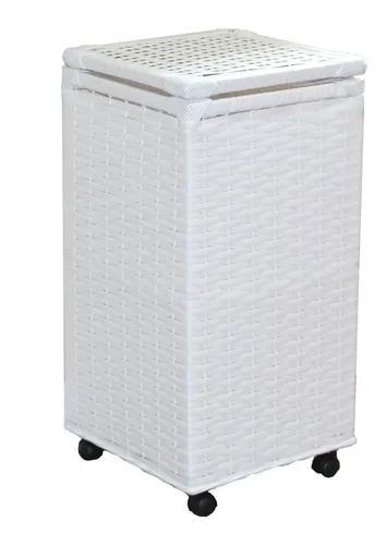Cesto roupa suja vime fibra sintética 30x30x60 c/rodinhas