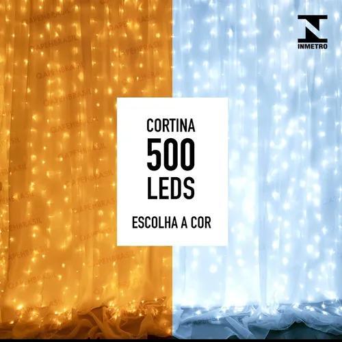 Cortina led com 500 leds 4m x 2,2m - fixa - escolha a cor