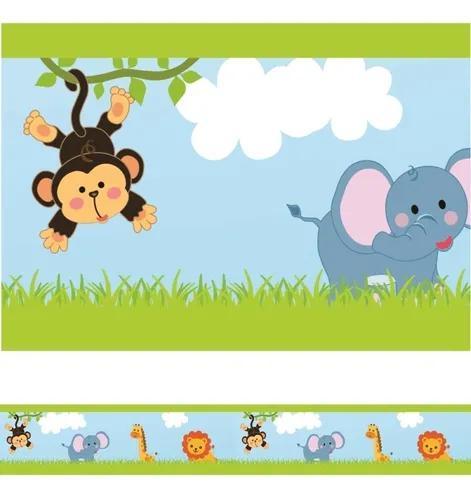 Faixa decorativa infantil border papel de parede bebê zoo