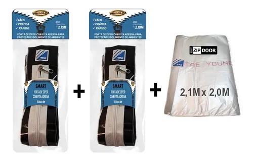 Flex kit 2un. porta de zíper com fita adesiva - 2,1m x 2,0m