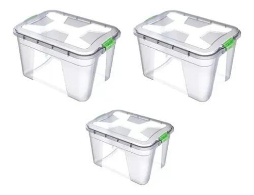 Kit 3 caixas organizadoras multiuso 56 litros