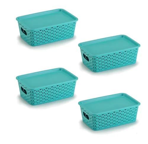 Kit 4 caixas organizadoras rattan 3 litros com tampa