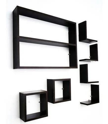 Kit 7 peças nichos cubo l prateleira mdf preto