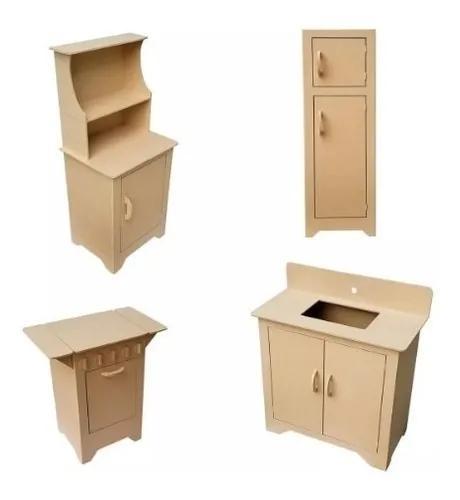 Kit cozinha infantil 4 moveis mdf cru moveis pedagógicos