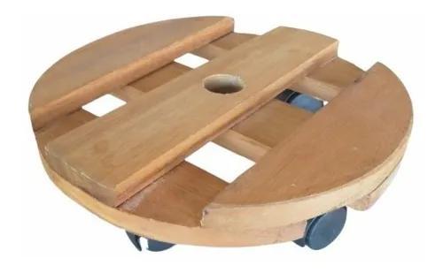 Suporte de madeira com rodinhas para vasos 30x30cm até