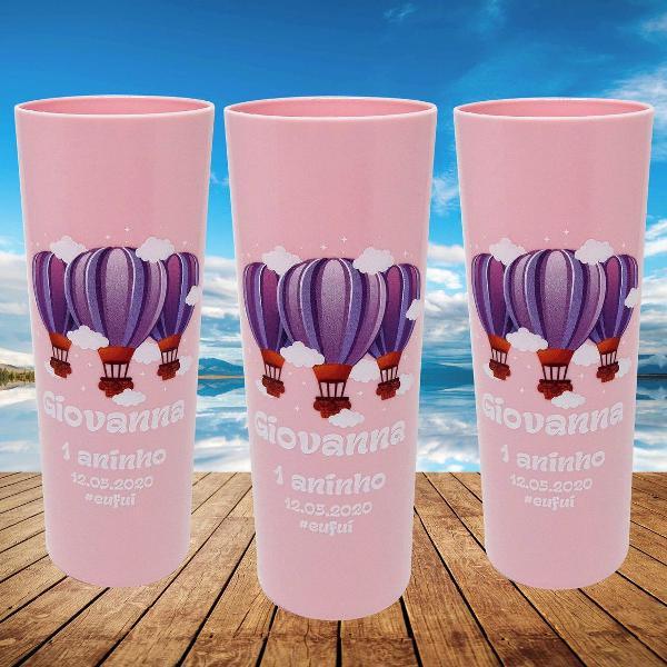 15 copos long drink rosa bebê personalizado balão