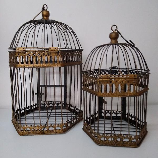 Gaiolas decorativas vintage. kit com 2 gaiolas.