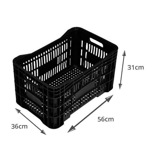 Caixa de feira organizadora (plástico preta)