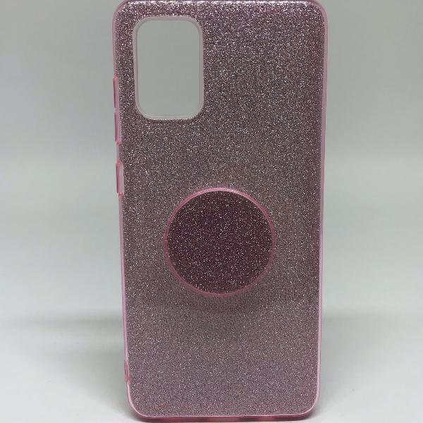 Capinha de celular samsung galaxy a51 rosa brilho com
