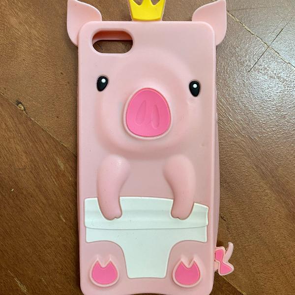 Capinha iphone 5s porquinho cor de rosa