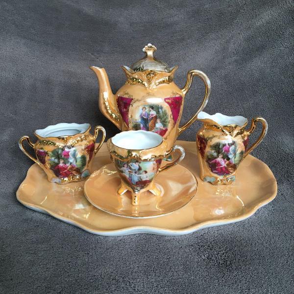Jogo de chá individual de porcelana cenas galantes
