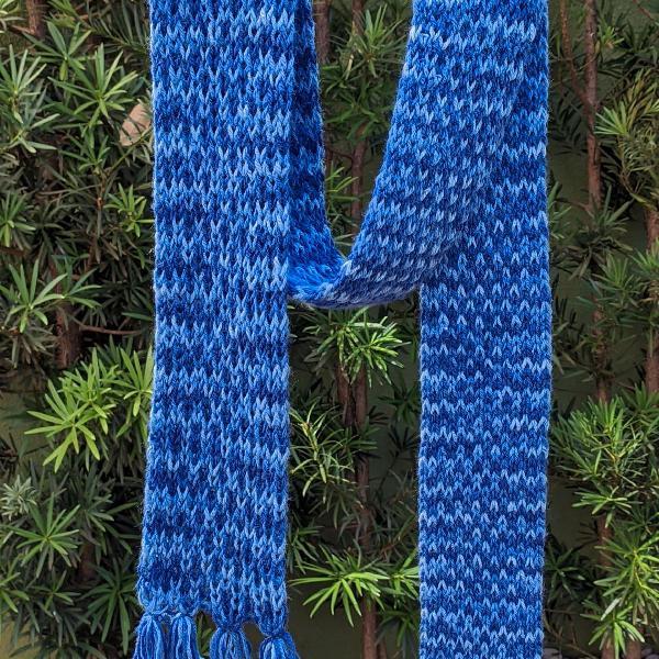 Cachecol de lã azul