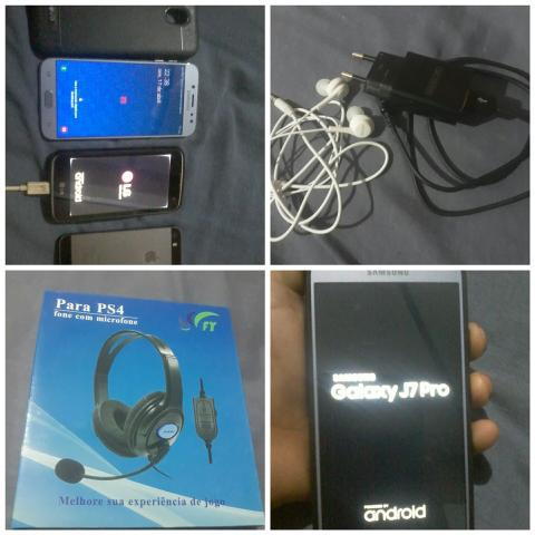 V/t j7 pro + lg k4 + iphone + headset + carregar e fone