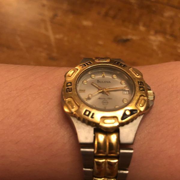 Relógio bulova feminino original, pulseira em aço. modelo