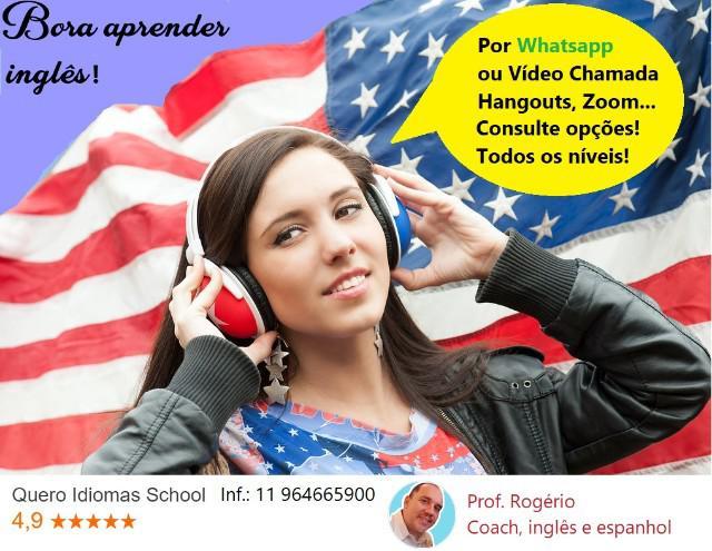 Aprenda inglês online, vídeo chamada ou whatsapp, fale em