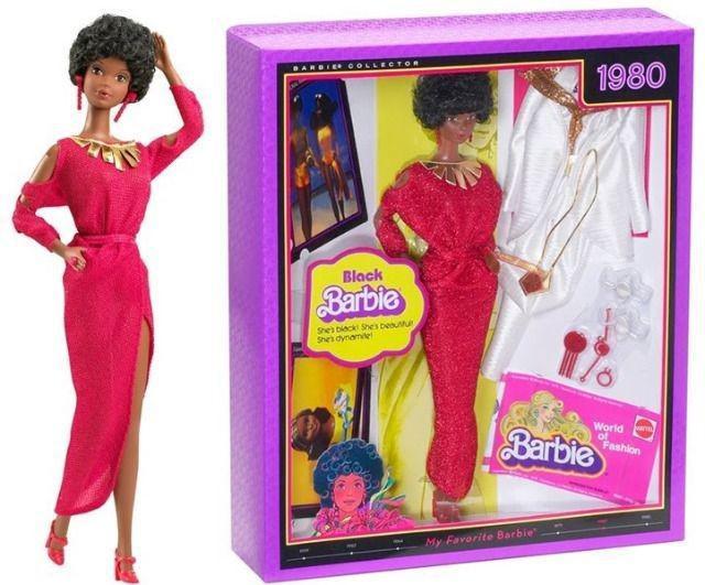 Barbie collector cápsula do tempo 1980 black barbie negra