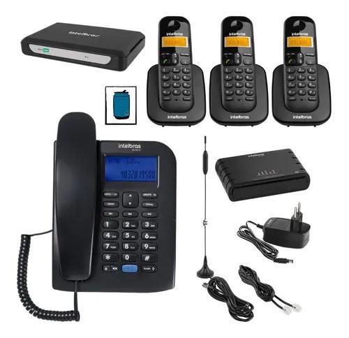 Kit central telefonica com 2 linhas 4 ramais entrada chip 3g