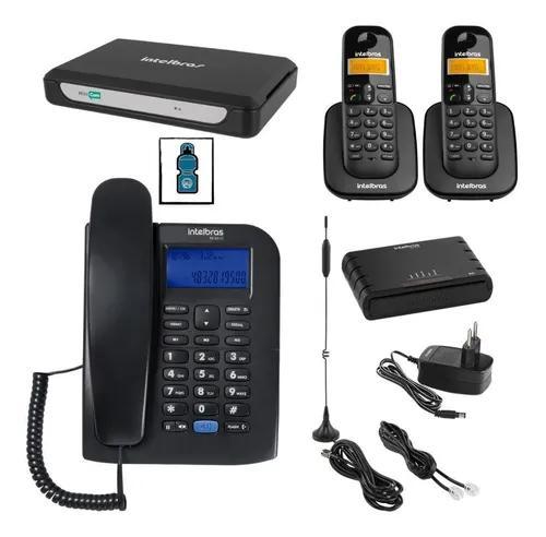 Kit pabx analogico 2 linhas 3 ramais e interface celular 3g