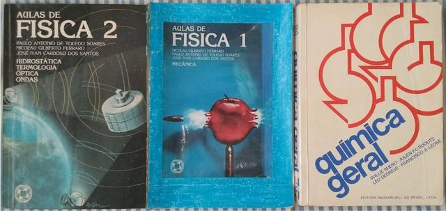 Livros de física (ensino médio), química (engenharia) e