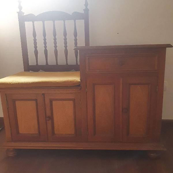 """Mesa de telefone """"fofoqueira"""" vintage em madeira maciça"""
