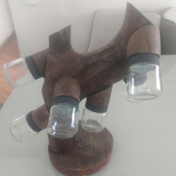Porta temperos em madeira com 6 potes de vidro