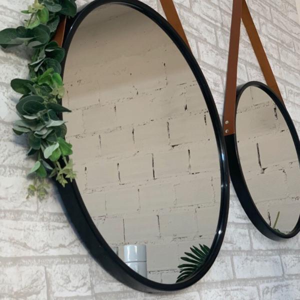 Espelho redondo 60cm diâmetro cor preto