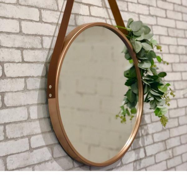Espelho redondo 60cm diâmetro cor rosê