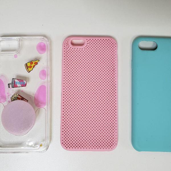 Kit com 3 capas para celular 6s usadas verde rosa
