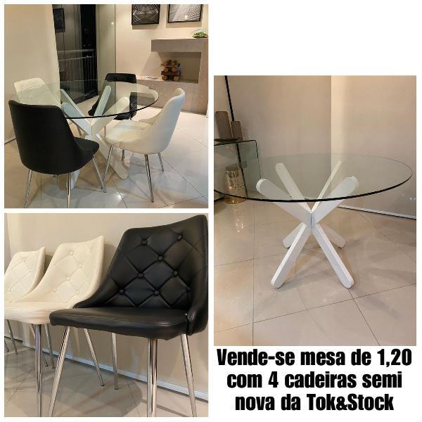 Mesa de jantar 1,20 e 4 cadeiras (usado) tok&stock